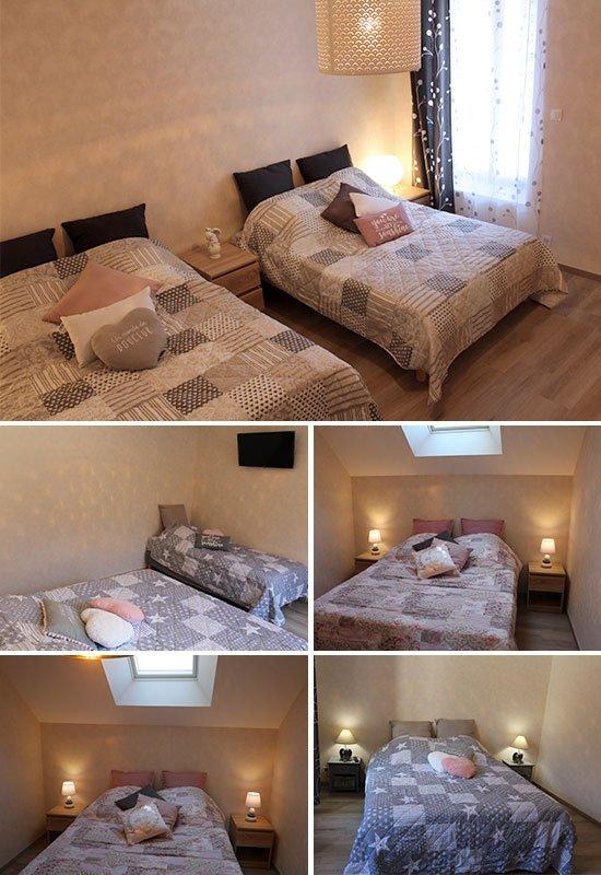 Photographie des chambres du gîte, disposant des lits aux couleurs chaudes et grises. Dans une ambiance tamisé.