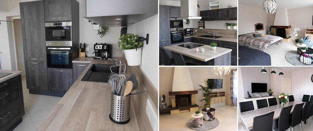 Photographies des pièces principales du gîte : une cuisine équipée et moderne, un salon équipé de lits clic-clac et une grande table pour recevoir une grande famille