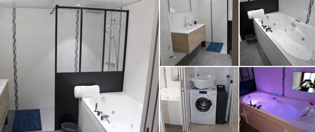 Photographies de la salle de bain avec une douche à l'italienne, un lave-linge, un lavabo, un spa